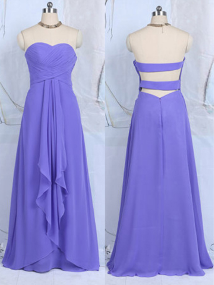 Blue Violet Bridesmaid Dresses With Ruffles Sweetheart Chiffon Floor Length Open Back