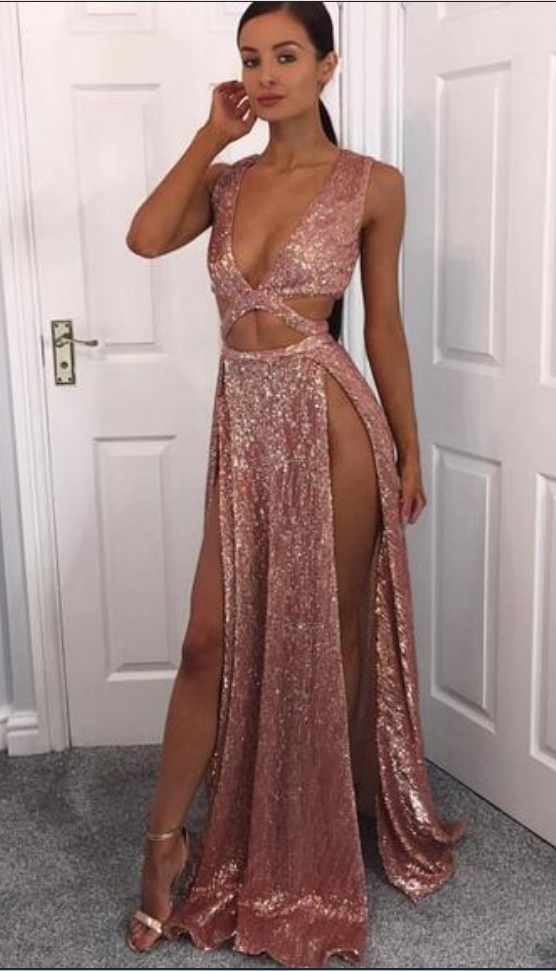 Hot! Sexy Deep V-neck Rose Gold Prom Dresses Deep V-neck Thigh Split ...
