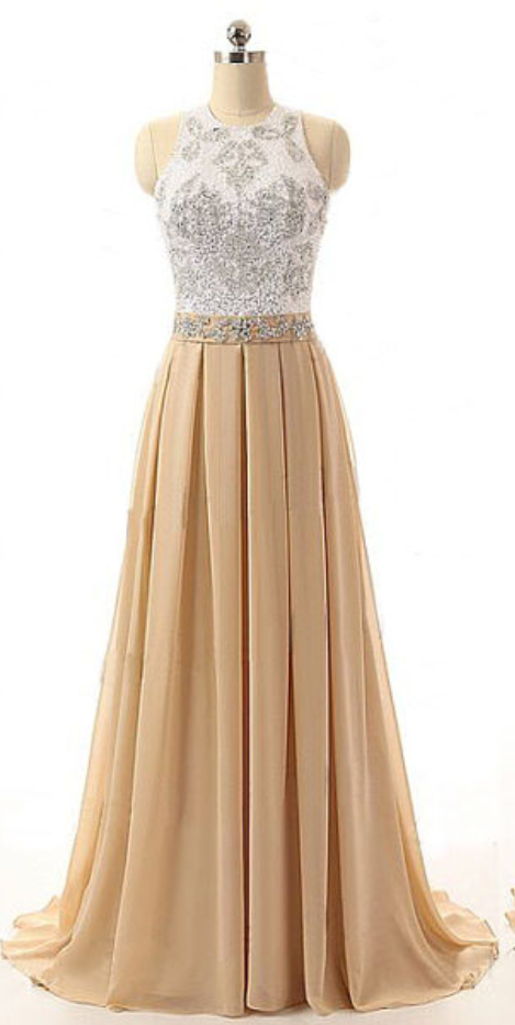 Beaded Embellished Halter Neck Champagne Floor Length A-Line Prom Dress