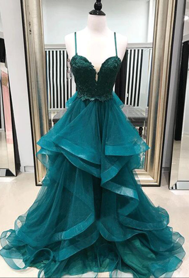 5be6db93db A-Line Spaghetti Straps Green Tiered Long Prom Dress With Appliques ...