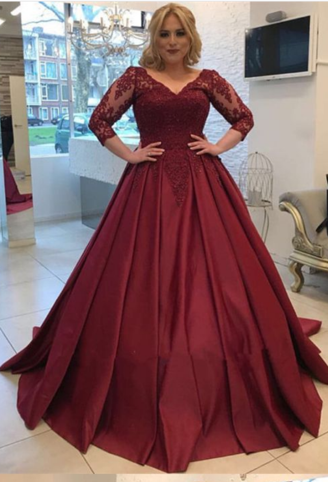 Burgundy Wedding Dresses,Modest Prom Dresses With 3/4 Sleeves,Elegant  Wedding Gowns,Ball Gowns Wedding Dress,Plus Size Wedding Dress