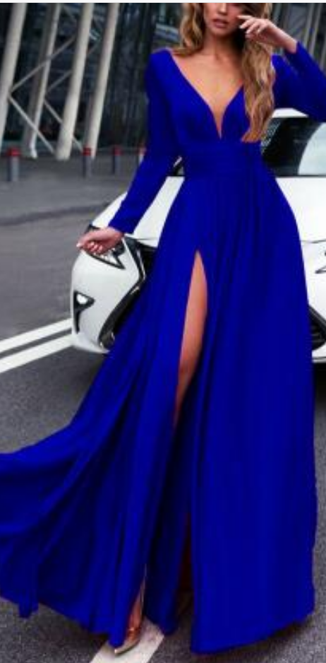 Royal Blue Prom Dress Sexy Prom Dress Long Sleeves Prom Dresses Cheap Prom Dress 2018 Leg Split Evening Gowns