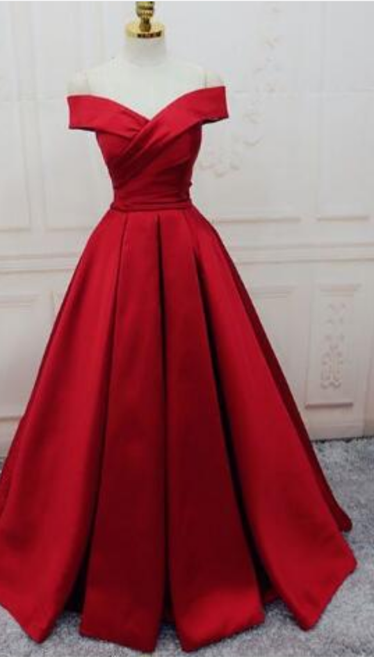 Gorgeous Red Prom Dress,Stain prom Dress,Off Shoulder Prom Dress,Cheap Prom Dress,Long Evening Dress,Lace up Prom Dress,2018 Prom Dress