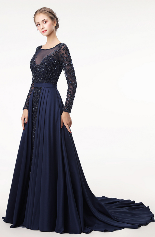 21dd46cf0dbc 2018 Dark Navy Luxury Beading Formal Evening Dresses Elegant Illusion O-Neck  Long Sleeve Sexy