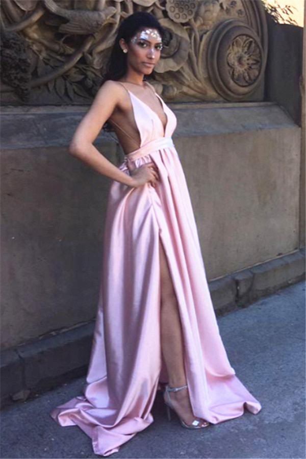 Pink Satin V Neck Prom Dresses A-line Long Sleeveless Evening Dresses  Backless Formal Gowns c5b758cd0