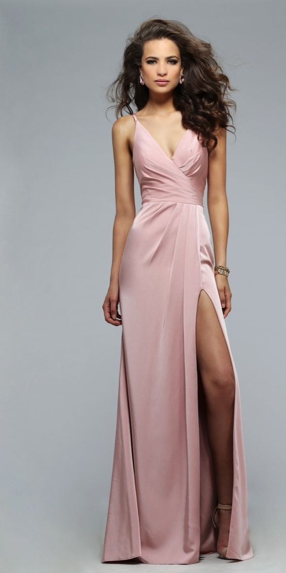 Pearl Pink Long Prom Gown Evening Dress,prom Dress,prom Dresses,slit ...