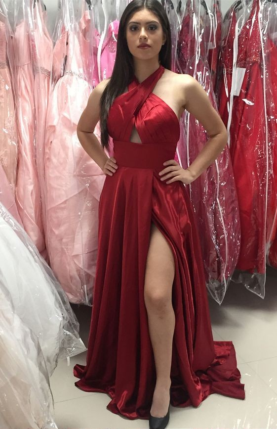 2c3003f239760 A-Line Cross Neck Floor-Length Dark Red Prom Dress with Split Keyhole, Sexy Backless  Halter Evening Gowns