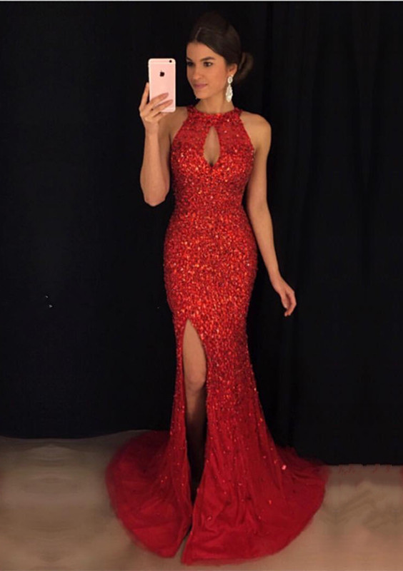 Luxurious Crystal Mermaid Prom Dress, Red Evening Dress for Woman, Mermaid Formal Party Gowns