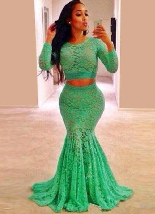 10b8f854be9 Hot Sale Mint Green Lace Long Sleeve Prom Dresses Plus Size For Mermaid  Women Prom 2