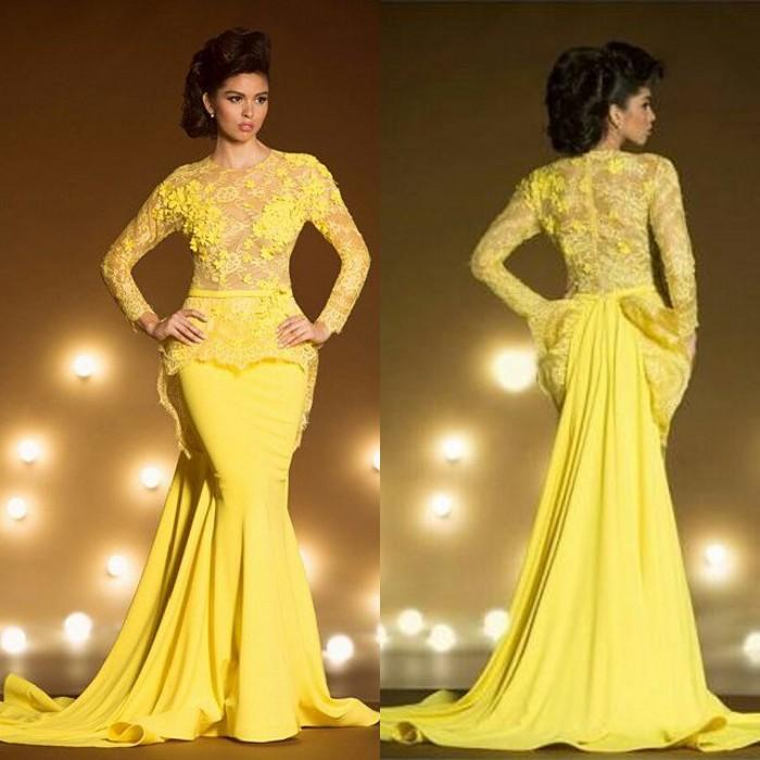 f986aa6a9dba4 ion Lace Formal Evening Dresses With Long Sleeves Mermaid Appliqued Sheer  Jewel Neck Peplum Prom Dress