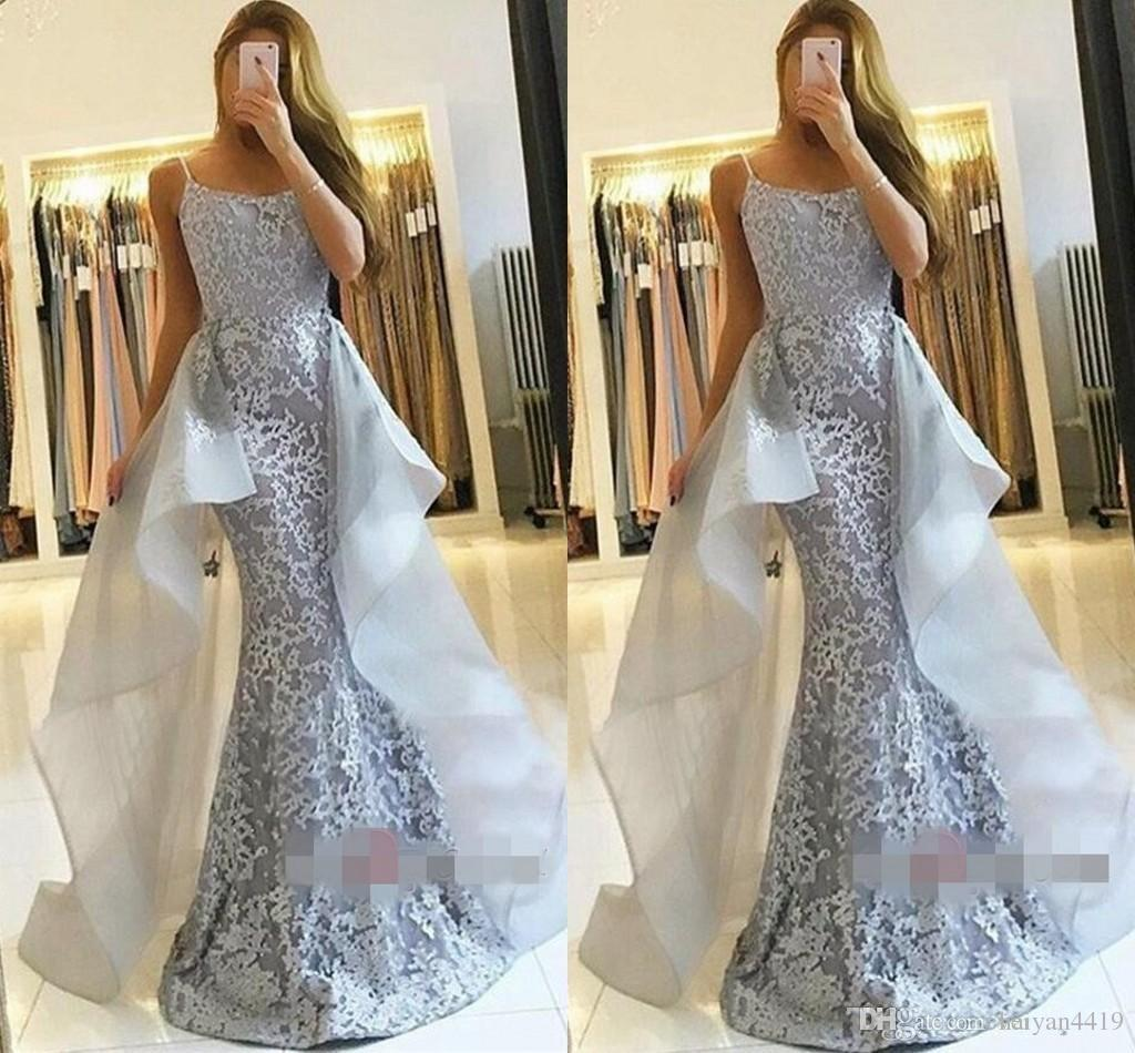 a398b3fa5ad Silver Gray Overskirts Mermaid Prom Dresses Spaghetti Straps Lace Appliques Beaded  Long Custom Organza Arabic Sexy