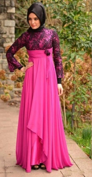 98f7305a7e18 African long sleeves Evening Dresses Nigerian lace Styles Arabic 2018  Elegant chiffon empire Muslim high collar Mermaid Prom Party Gowns