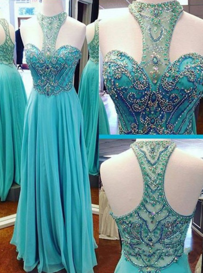 Prom Dress,Beaded Prom Dress,A-line Chiffon Evening Dress,Turquoise Chiffon Prom Dresses,Cheap Prom Dress,Long Sexy Prom Dress