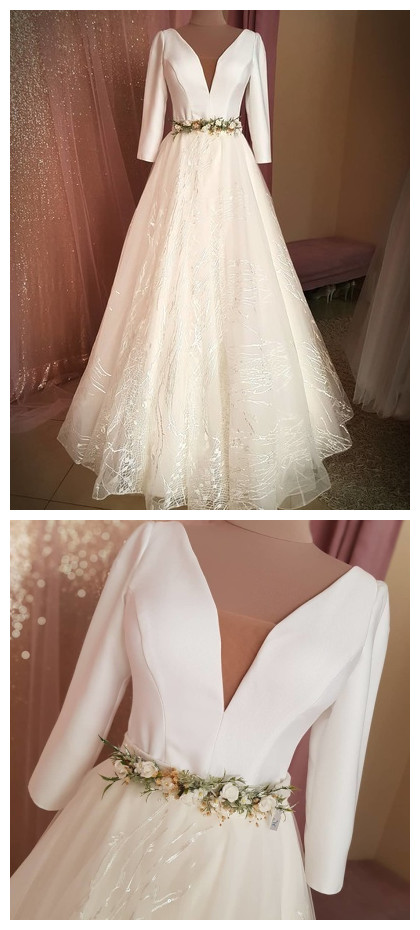 Fashion Lux V neck White Long Prom Dress, Full Sleeve Formal Wedding Dress