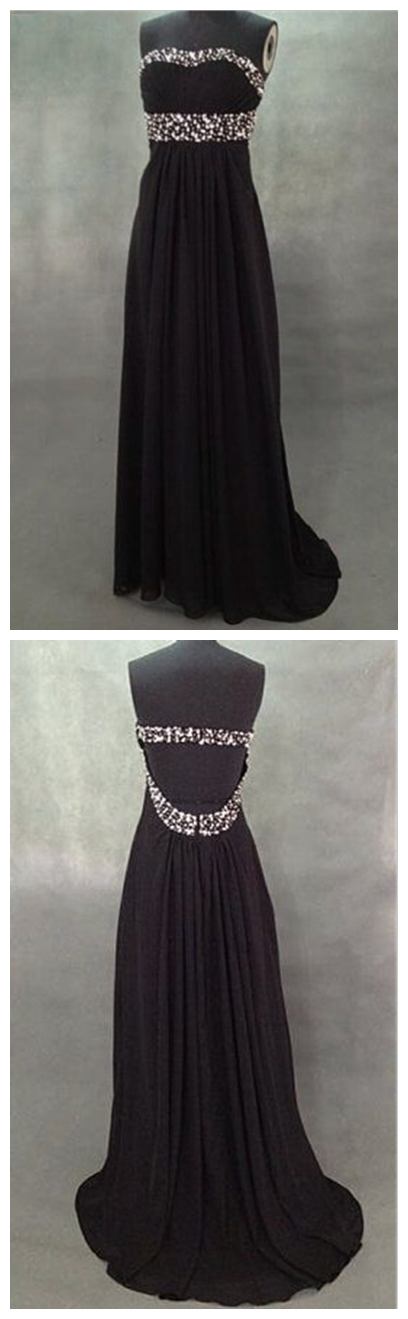 Sexy Graduation Dress, Sweet Black Open Back Chiffon Floor Length Prom Dreses with Beadings, Black Prom Dresses, Black Evening Dresses, Formal Dresses, Graduation Dresses, Party Dress,Wedding Guest Prom Gowns, Formal Occasion Dresses,Formal Dress