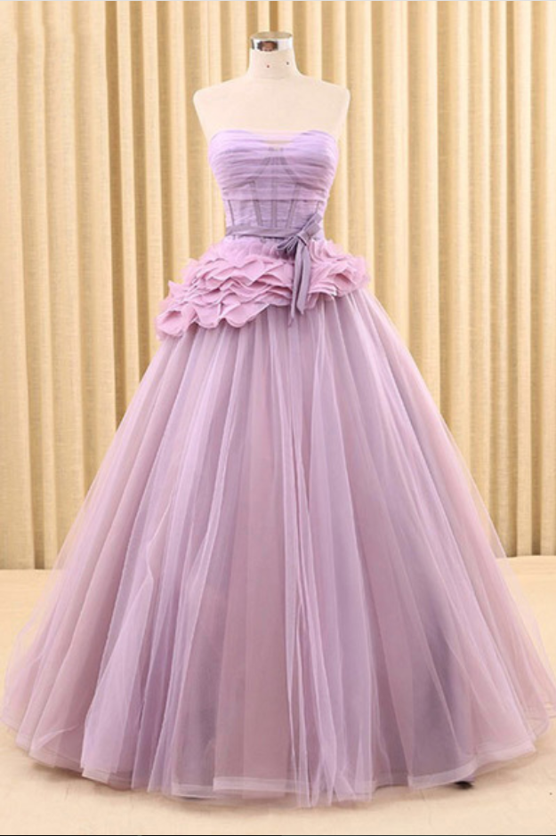 New design lilac tulle strapless long prom dress, backless long bowknot evening dress