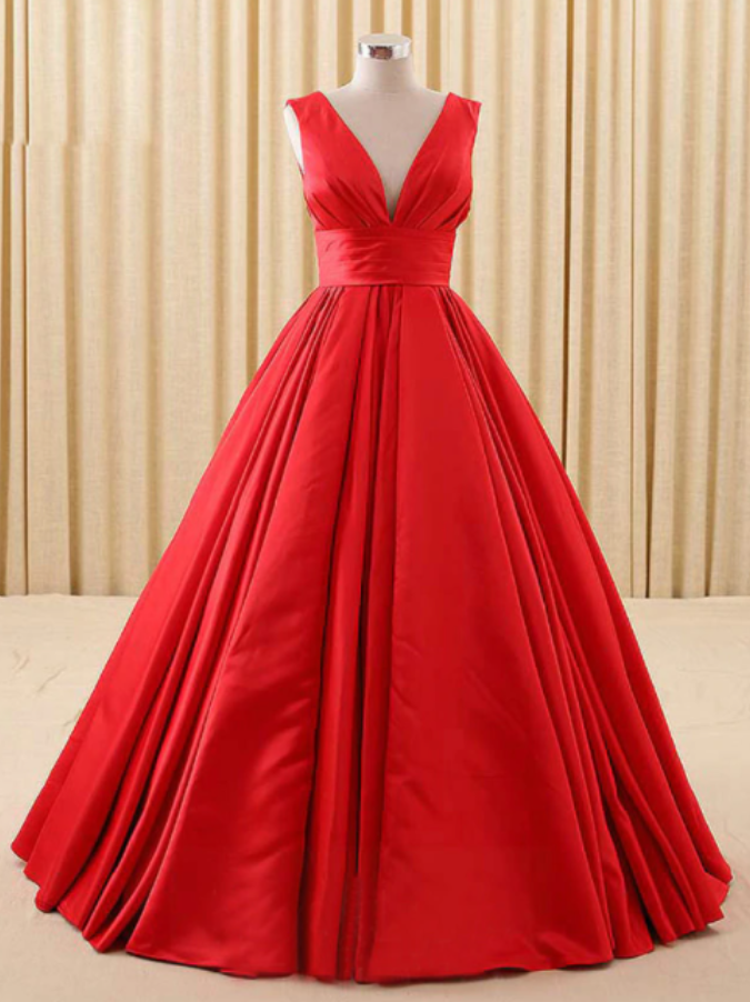 Simple A-line Red V-neck Satin Backless Quinceanera Dresses