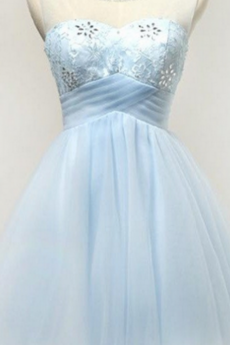 Light Blue Short Tulle Classy Girly Homecoming Dresses