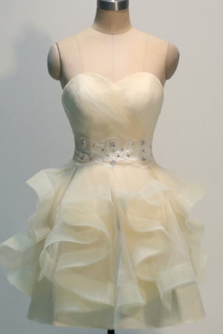 Sweetheart Homecoming Dresses,Organza Beaded Prom Dresses,Layers Homecoming Dresses,Short Homecoming Dresses