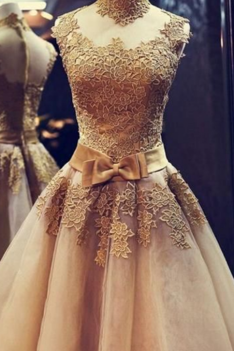 Gold Homecoming Dresses,Lace Homecoming Dresses,Sheer Homecoming Dresses,Girls Pageant Dresses