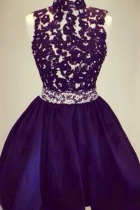 High-neck Homecoming Dress,Black Homecoming Dresses,Lady Homecoming Dresses,Lace Dress