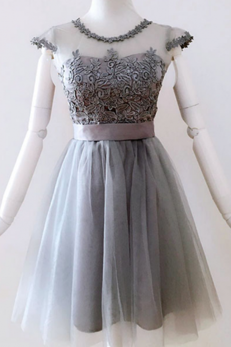 Elegant A-Line Scoop Cap Sleeves Lace Up Short Homecoming Dress With Appliques