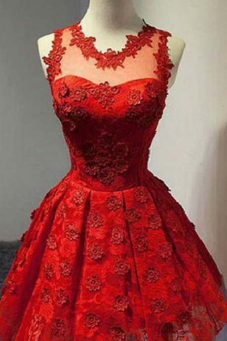 Red A-Line Lace Homecoming,Dresses Sleeveless Scoop Mini Homecoming Dresses ,Cocktail Homecoming Dress