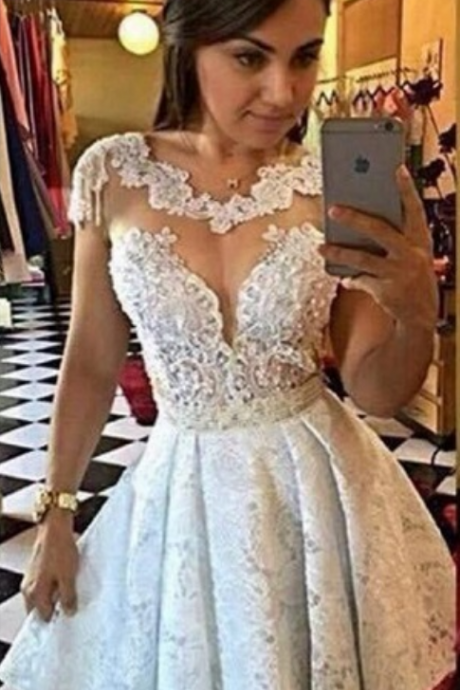 A-line Homecoming Dresses,Lace Hpmecoming Dresses,Beaded Homecoming Dresses,Sexy Homecoming Dresses,Short Prom Dresses,Party Gowns,Little White Dresses