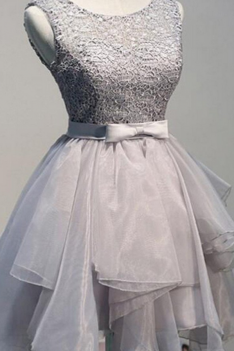 Grey organza unique sleeveless lace homecoming prom dresses