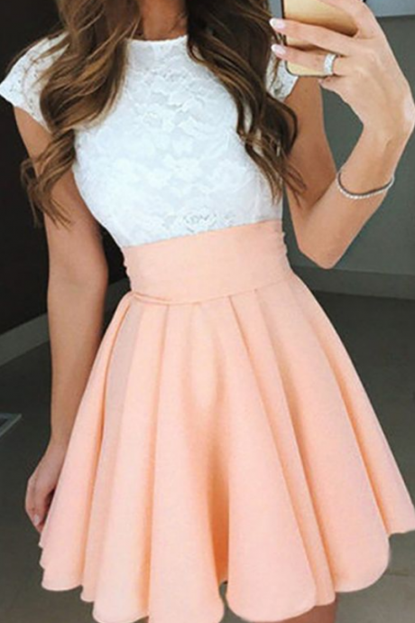 Pink Homecoming Dresses,Lace Homecoming Dress,Short Homecoming Dress,Cheap Homecoming Dress