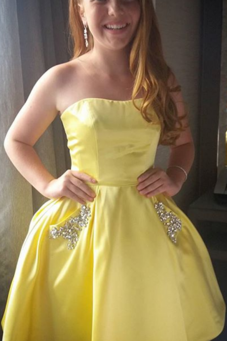 Yellow Homecoming Dress, Short Homecoming Dress, Homecoming Dress with Pockets