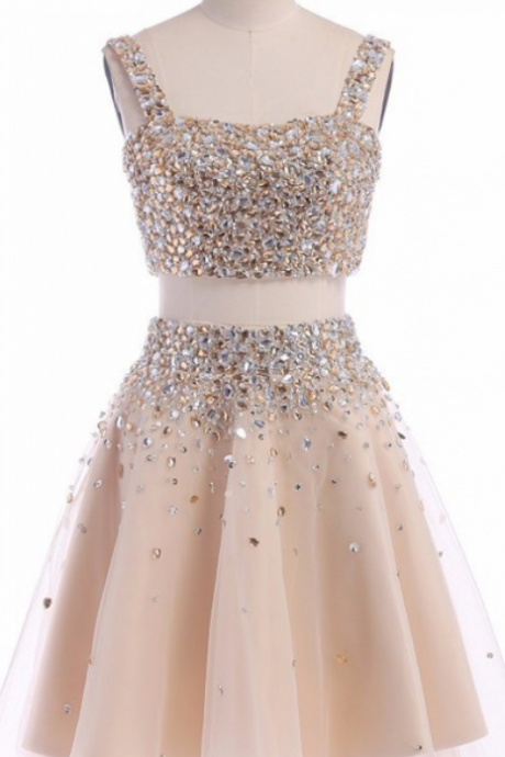 Fashion Two Piece A-Line Square Neck Backless Short Homecoming Dress With Beading