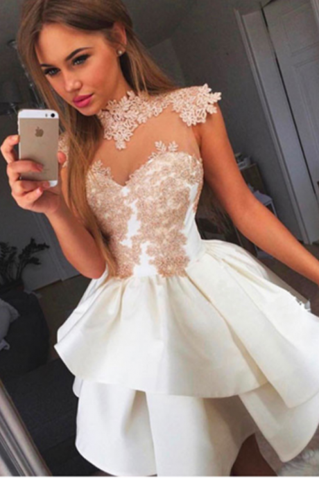 Ivory Homecoming Dresses,Lace Homecoming Dresses,Shrort Homecoming Dress,Cute Dresses,