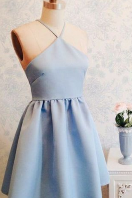 Simple Homecoming Dresses,A-line Homecoming Dresses,Halter Homecoming Dresses,Light Blue Homecoming Dresses,Short Prom Dresses,Party Dresses