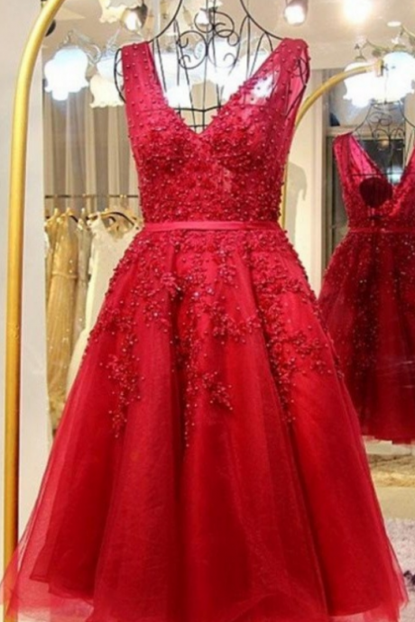 Amazing Light Red Lace Beaded V-neck Homecoming Dress