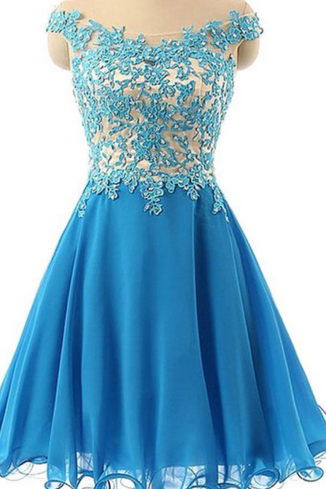 Floral Lace Appliquéd and Beaded Embellished Off-The-Shoulder Short Chiffon Homecoming Dress Featuring Curly Hem