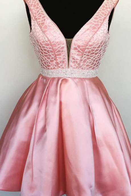 Satin Deep V neck Homecoming Dresses Beaded Waist Short Prom Gowns,Sweetheart Homecoming Dresses,