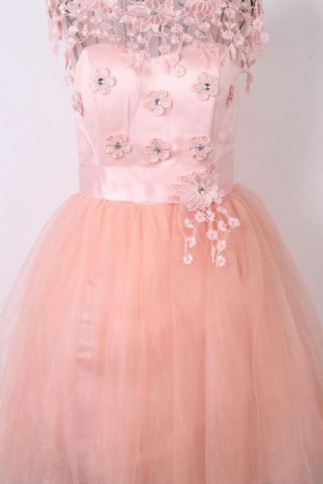 Beautiful Appliques Pink Cap Sleeves Short Homecoming Dresses