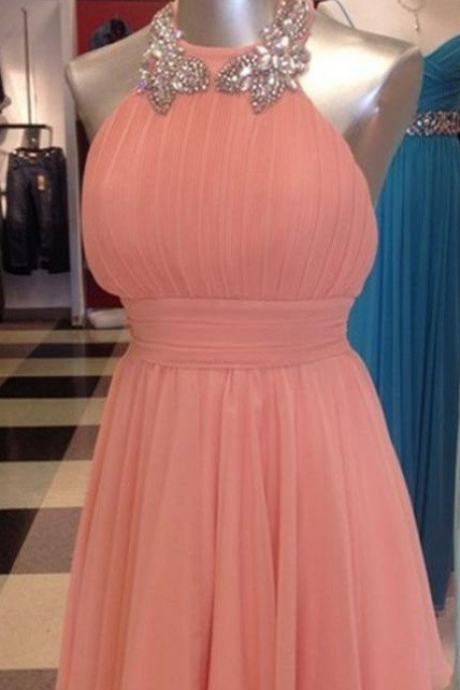 Coral Chiffon Halter Short Beading Backless A-line Homecoming Dresses