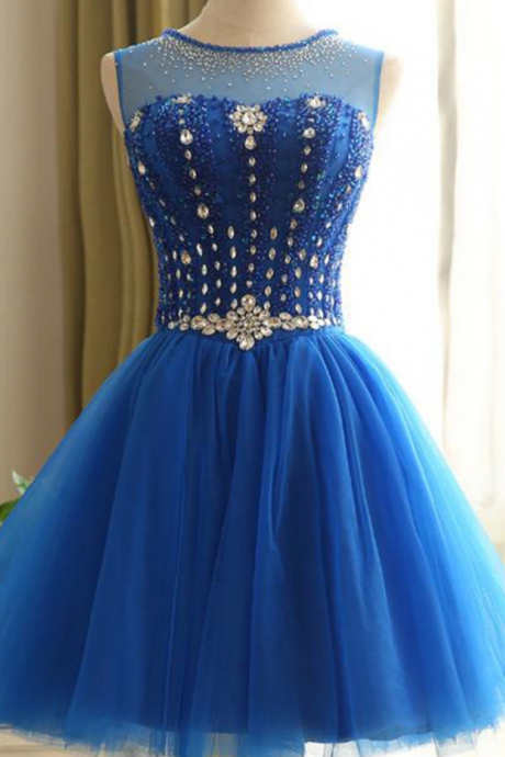 Homecoming Dresses,Beaded Homecoming Dress,A-line Homecoming Dresses,Blue Homecoming Dresses,Bandage Homecoming Dresses,Short Prom Dresses,Party Gowns