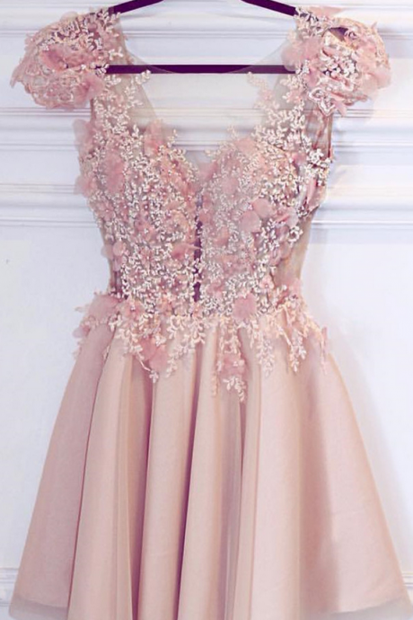 Cute Pink Appliques Short Homecoming Dress