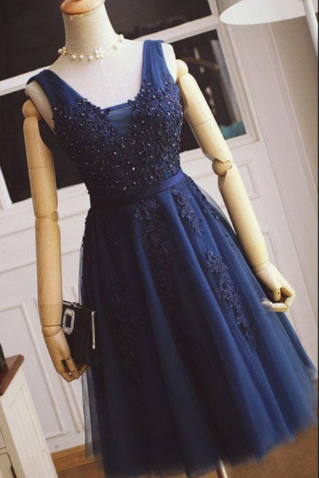 Navy Blue Appique Beaded Strapless Homecoming Dress