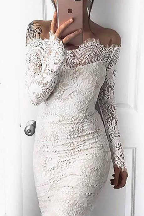 White Lace Sheath Homecoming Dresses Off-the-Shoulder Long Sleeves Cocktail Dresses