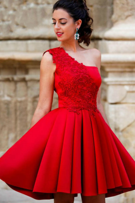 One Shoulder Prom Dresses,Lace Applique Evening Dresses,Red Stain Side Zipper Short Dress