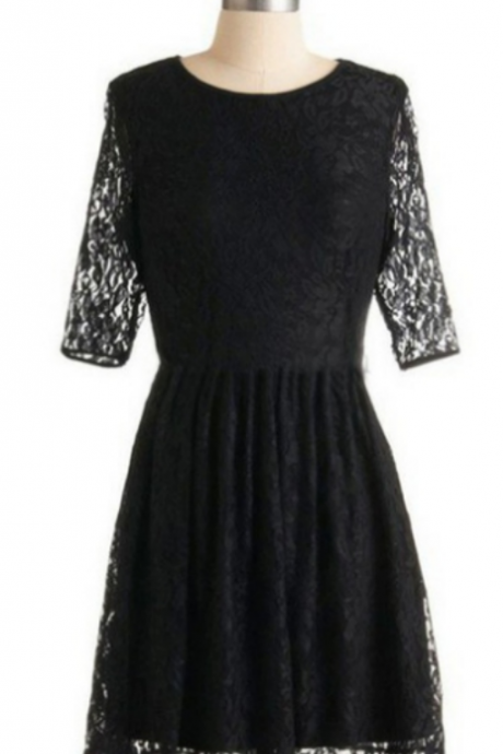 Short 1/2 sleeves Backless Lace Short/Mini Homecoming Dress