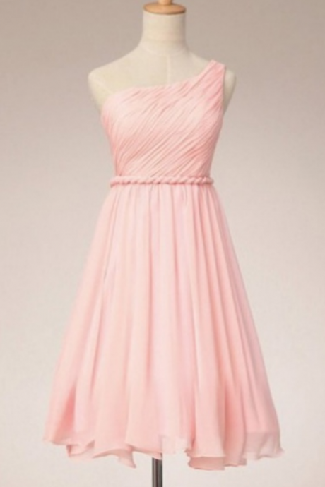 Simple Pink One Shoulder Short Bridesmaid Dresses, Pink Bridesmaid Dresses, Party Dresses