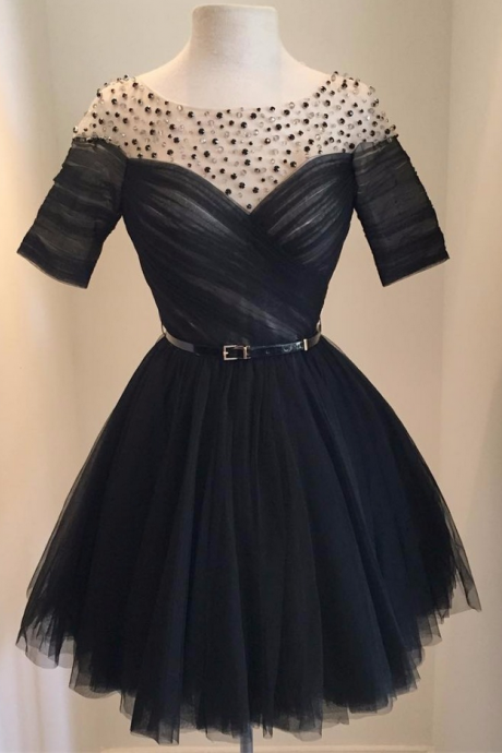 Short Cocktail Dress,Black Beaded Tulle Prom Gown,Cute Prom Gown
