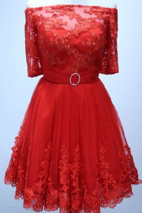 Homecoming Dress Half sleeve red lace Short Homecoming Dress Short Prom Dress