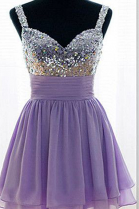 Short Homecoming Dress, Cute Homecoming Dress, Chiffon Homecoming Dress, Sequin Junior School Dress, Graduation Dress,
