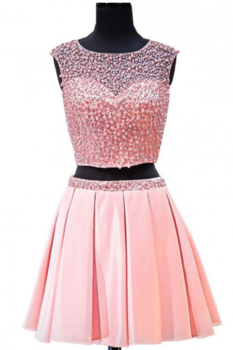 Lovely 8th Grade Prom Dresses A-line Scoop Pearls Beaded Two Piece Short Pink Backless Short Homecoming Dresses